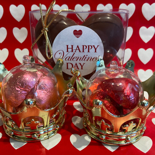 Collection of solid milk chocolate hearts