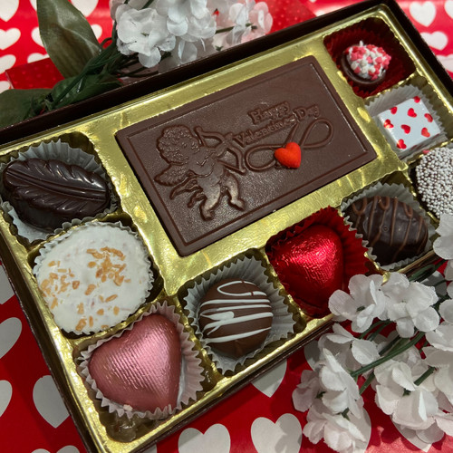 9 pieces of assorted chocolates w/ a chocolate Valentine card