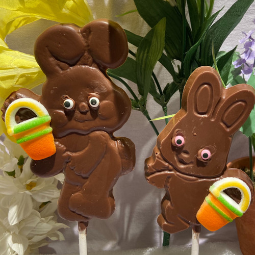 Set of 2 Bunny Lollipops having beach fun