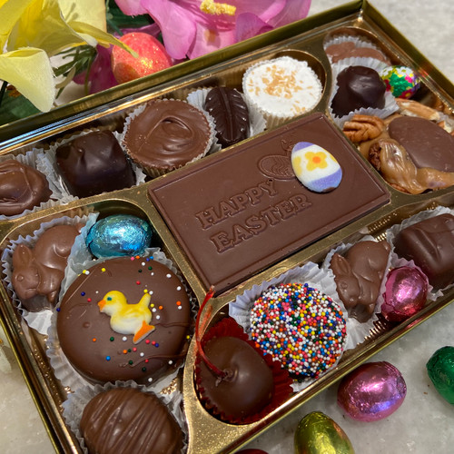 1 lb of assorted chocolates with a decorative Easter card