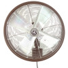 24 Inch Shrouded Outdoor Wall Mount Oscillating Fan 3-Speed Control on Motor