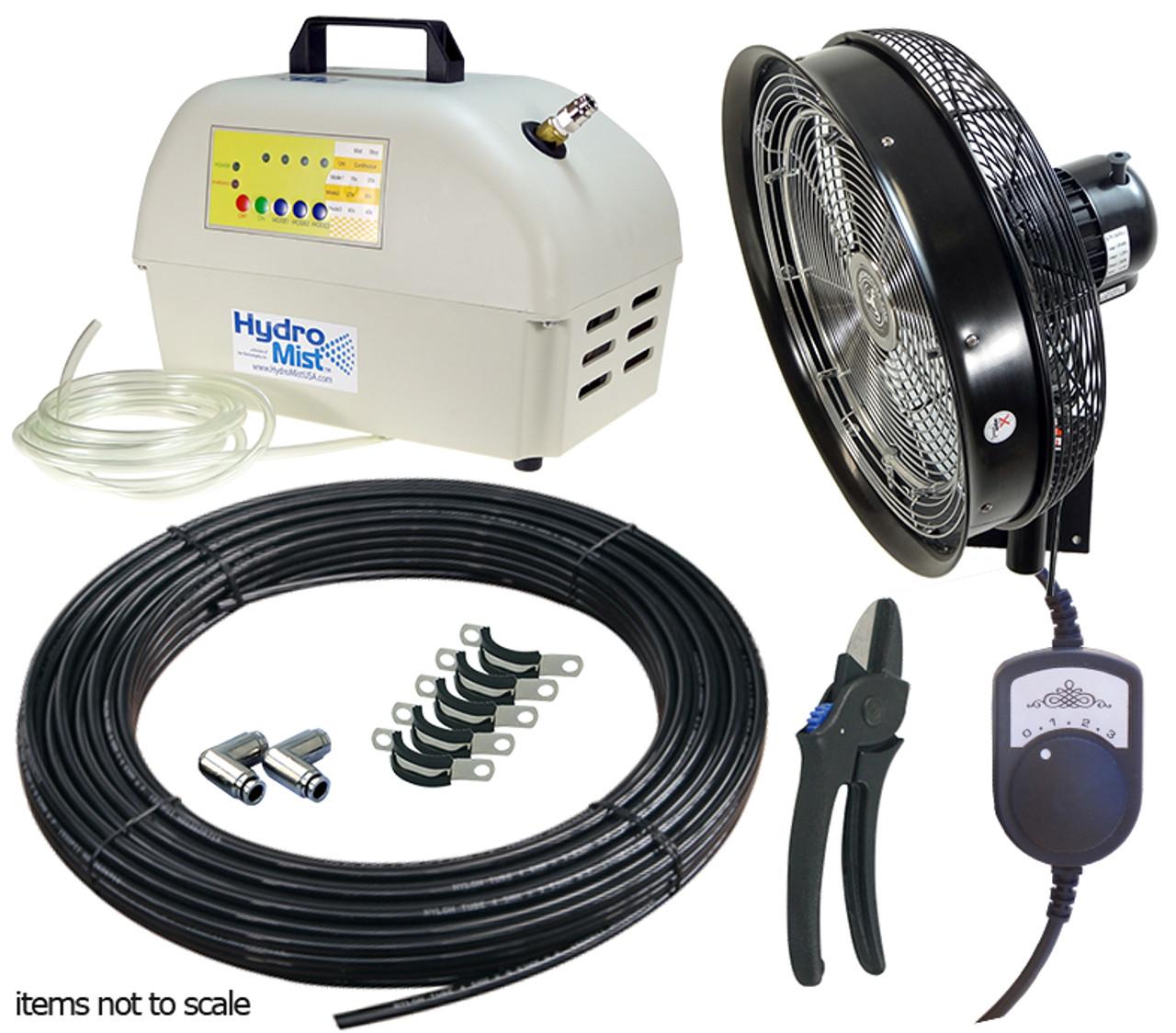 One 18 Inch Wall Mount  Misting Fan Package 1000PSI w/ ProMist 35 Pump