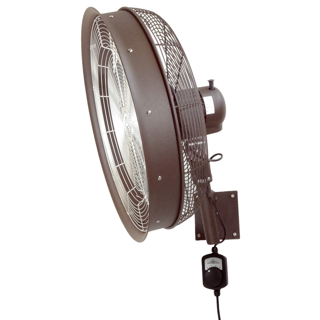 24 Inch Shrouded Outdoor Wall Mount Oscillating Fan 3 Speed Control on Cord