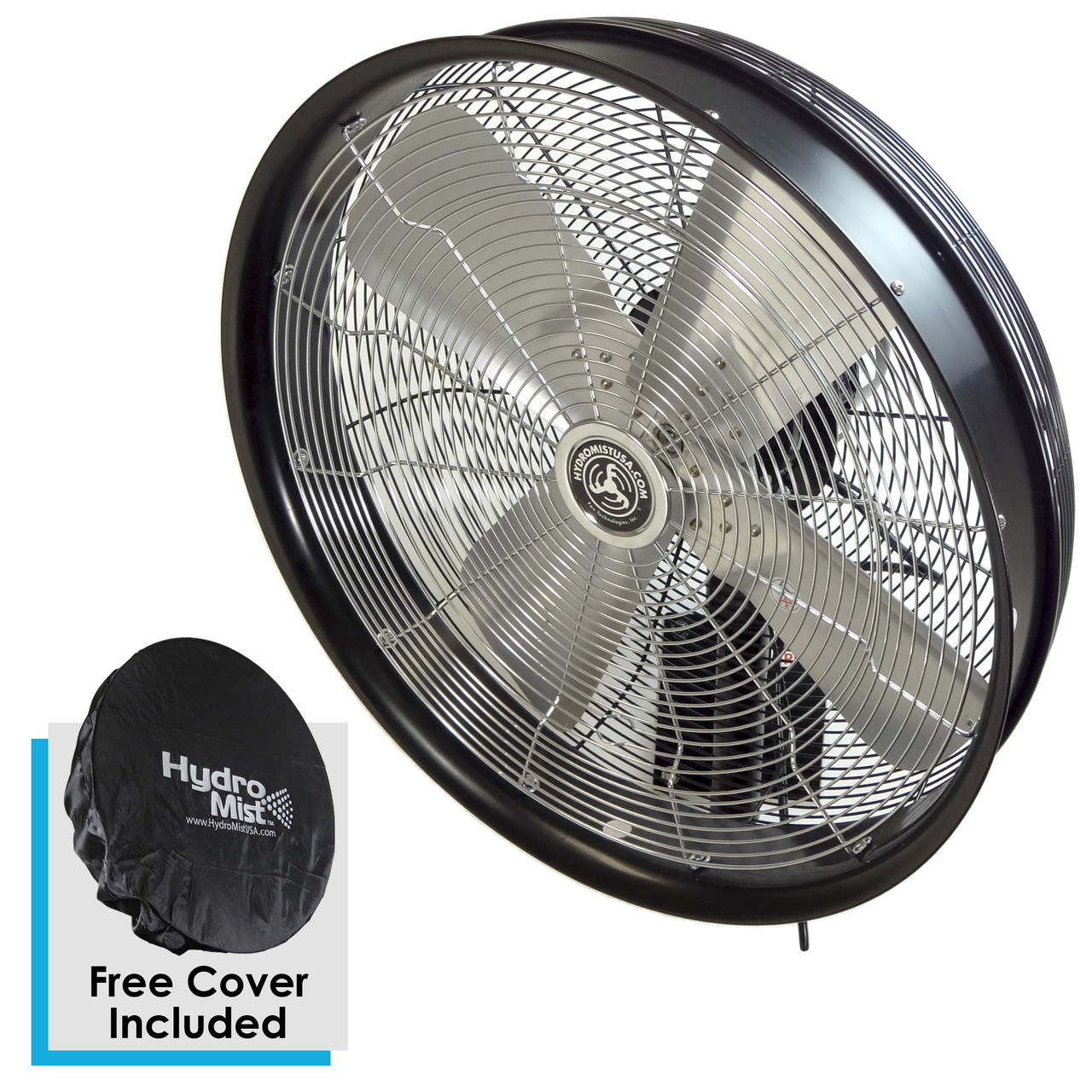 24 Inch Outdoor Wall Mount Oscillating Fan 3-Speed Control on Motor