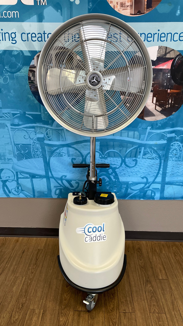 """Cool Caddie-Self Contained Portable 1000 PSI Misting 3 speed  Fan-For Cooling and  Dispersing Sanitizers & Disinfectants, 24"""" Fan Head Model"""