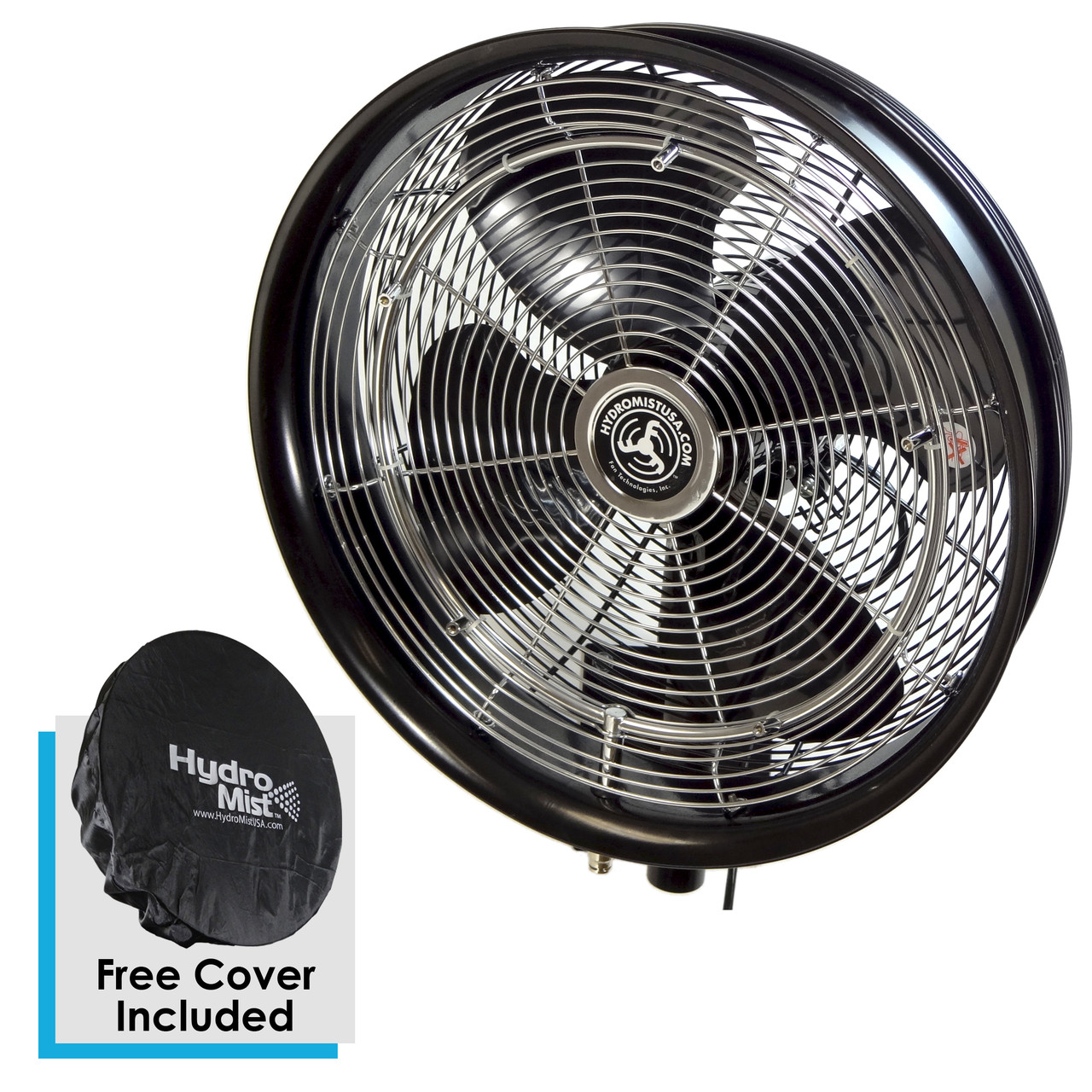 """18"""" Black Professional Oscillating Misting Fan (Requires 1000 PSI pump and 3/8 High Pressure Hose)"""