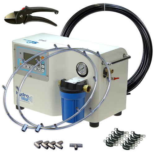 Retrofit any existing fans with the ProMist75 High Pressure pump and 2 -8 Nozzle Mist Rings.  Comes with 50 ft of  Nylon Tubing, cutter, 4 Elbows, 1 Tee fitting and mounting clamps.   This system has a 32 Nozzle capacity at 1000 PSI so could add 16 more nozzles for other fans or mist line