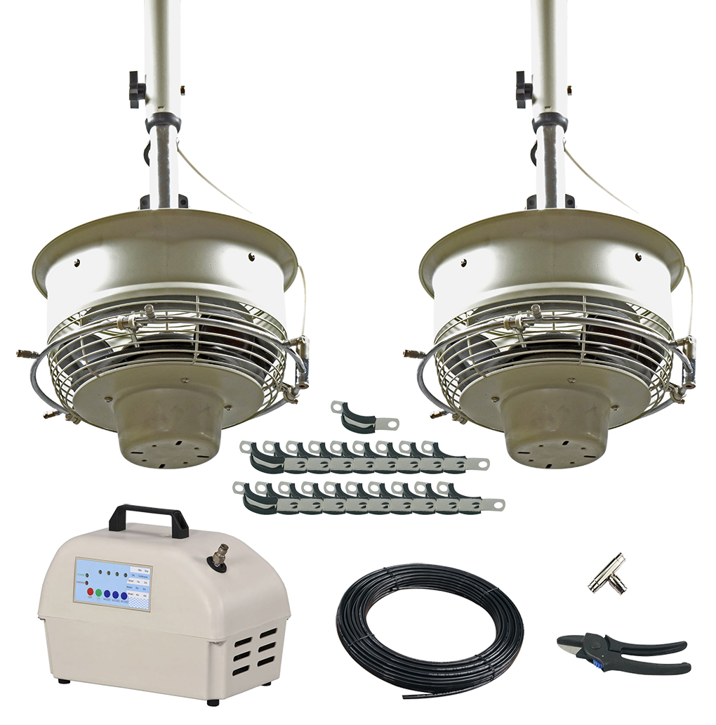 2 Ceiling Mount CentraMist Fans with 12 Nozzle Pump Package White