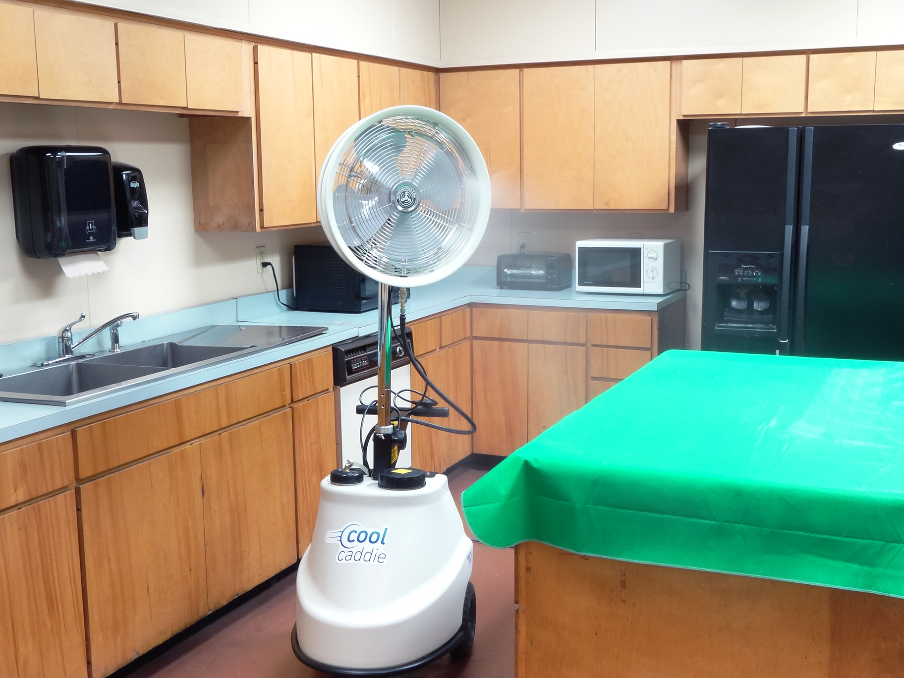 Cool Caddie-Self Contained Portable 1000 PSI Misting 3 speed  Fan-For Cooling and  Dispersing Sanitizers & Disinfectants