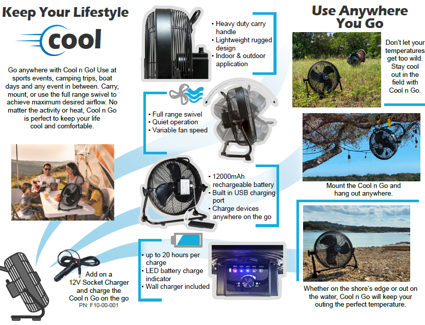 Cool n Go Rechargeable Battery Powered Fan Now in Stock w/ Free Shipping!