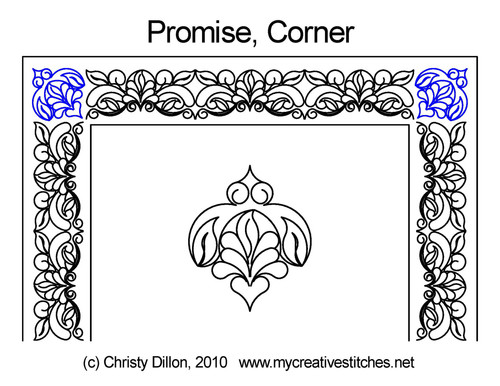 Promise digitized Corner quilting pattern
