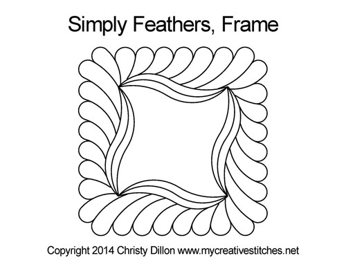 Simply feathers digital frame quilt design
