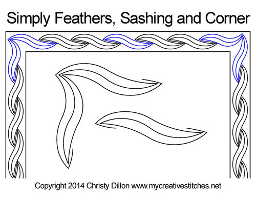 Simply feathers sashing & corner quilting