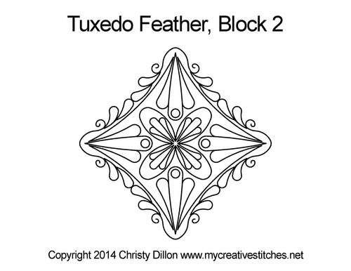 Tuxedo feather quilting design for block 2