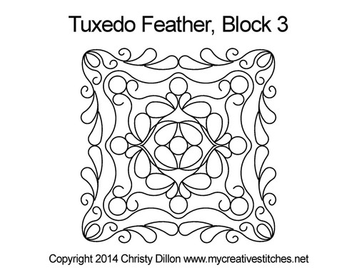 Tuxedo feather quilting pattern for block 3