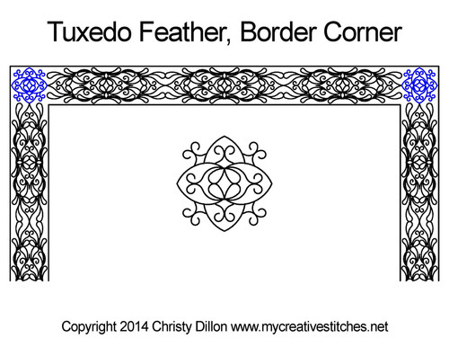Tuxedo feather border corner quilting ideas