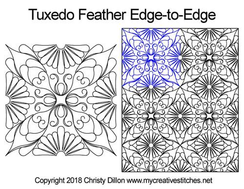 Tuxedo feather edge-to-edge quilt pattern