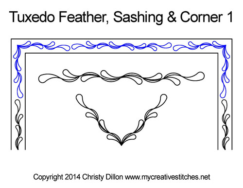 Tuxedo feather sashing & corner 1 quilt pattern