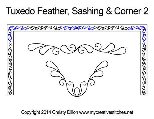 Tuxedo feather sashing & corner 2 quilt pattern