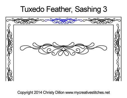 Tuxedo feather sashing 3 quilting patterns