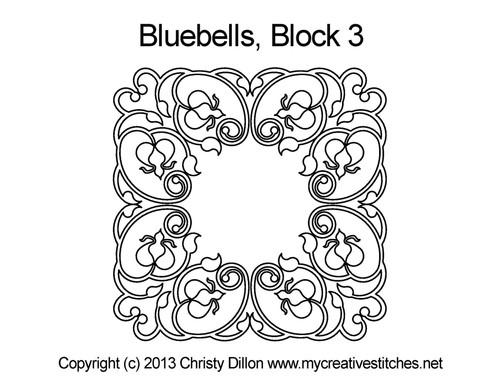 Bluebells square block 3 quilt pattern