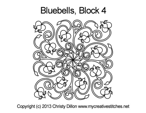 Bluebells square block 4 quilt pattern