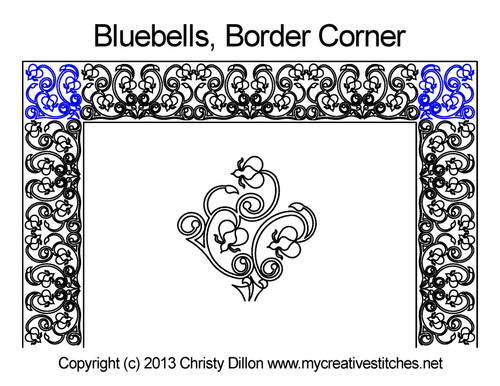 Bluebells border & corner quilt pattern