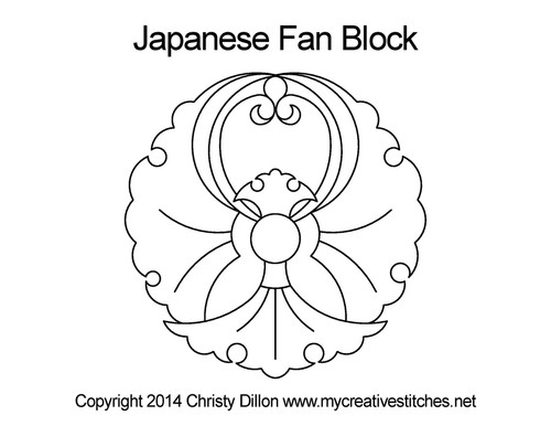 Japanese fan quilting pattern for blocks