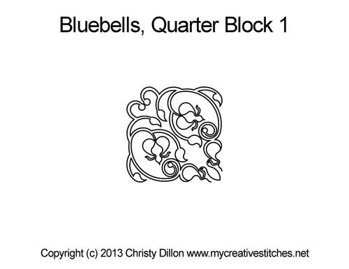 Bluebells quarter block 1 quilt pattern