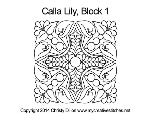 Calla lily Square block quilt pattern