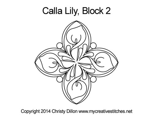 Calla lily triangle quilt block pattern