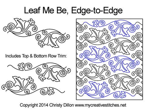 Leaf me be edge-to-edge quilt designs