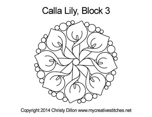 Calla lily Round quilt block pattern