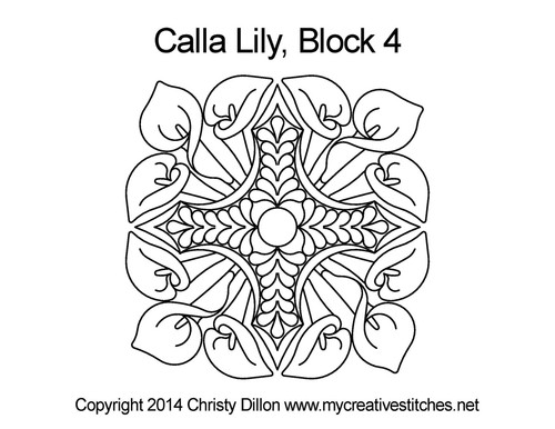 Calla lily Square block 4 quilt pattern