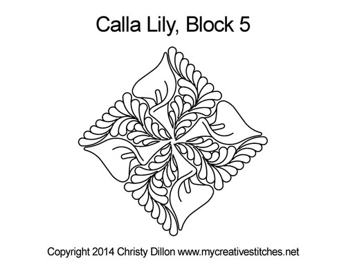 Calla lily triangle block 5 quilt pattern
