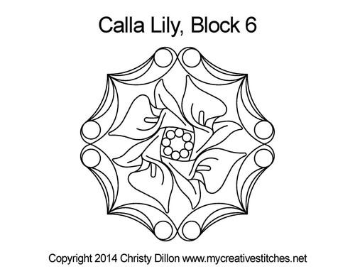 white Calla Lily Block 6 quilt design