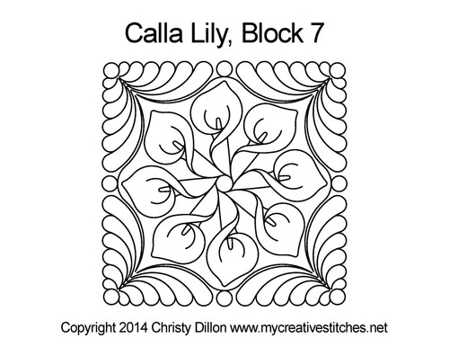 Calla lily Square block 7 quilt pattern