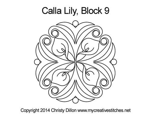 white calla lily flower block 9 quilt pattern