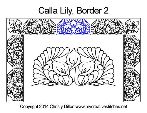 Calla Square block 2 border quilt design