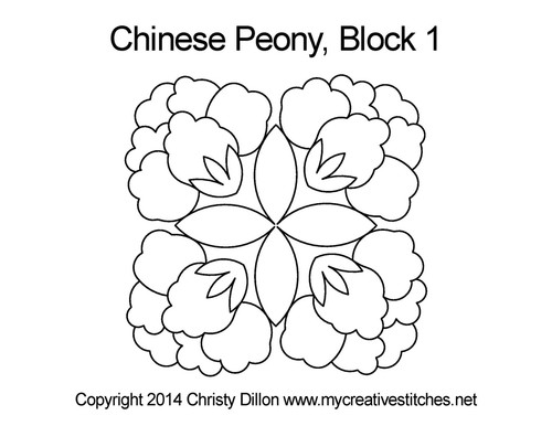 Chinese peony block quilt pattern