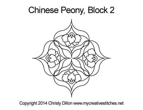 Chinese peony half block quilt pattern
