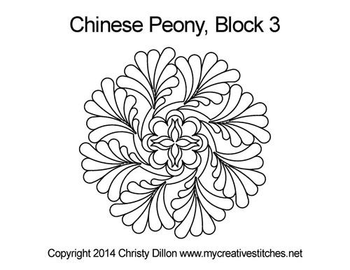 Chinese peony Round block quilt pattern