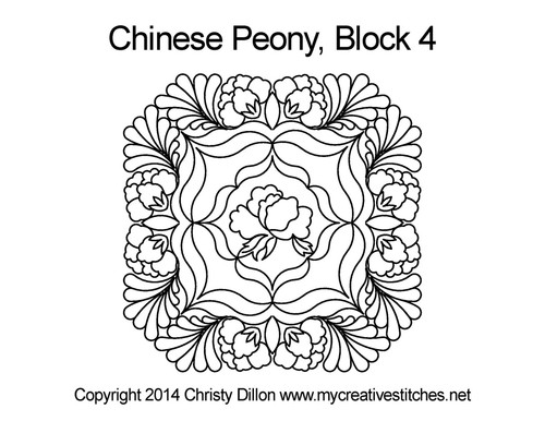 Chinese peony square block quilt pattern