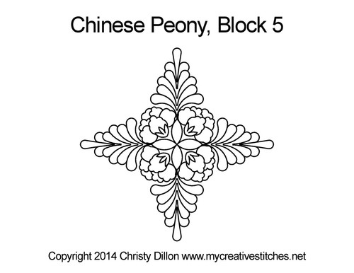 Chinese peony triangle block quilt pattern