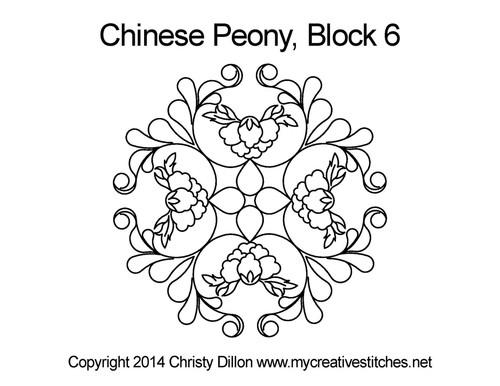 Chinese Peony Block 6