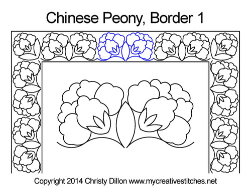 Chinese peony border quilt pattern
