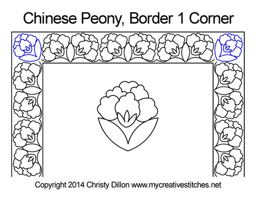 Chinese peony border & corner quilt pattern