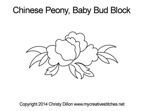 Chinese peony baby bud block quilt pattern