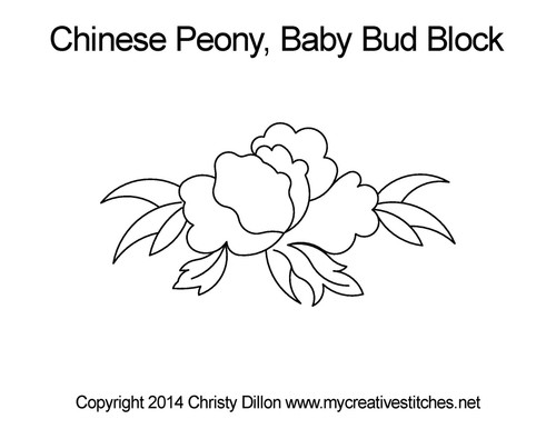 Chinese peony baby bud block quilt pattern
