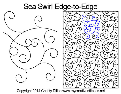 Sea swirl edge to edge quilt pattern